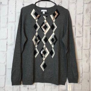 NWT Charter Club Gray Sequins Detail Sweater Sz XL